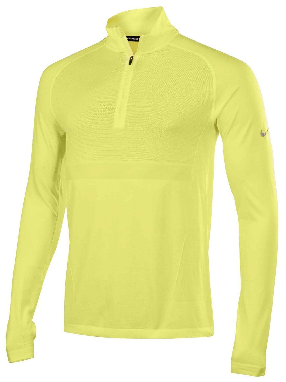 6b905e292 Nike Dri-FIT Knit Long-Sleeve Half-Zip Running Shirt-Neon Yellow at Amazon  Men's Clothing store: