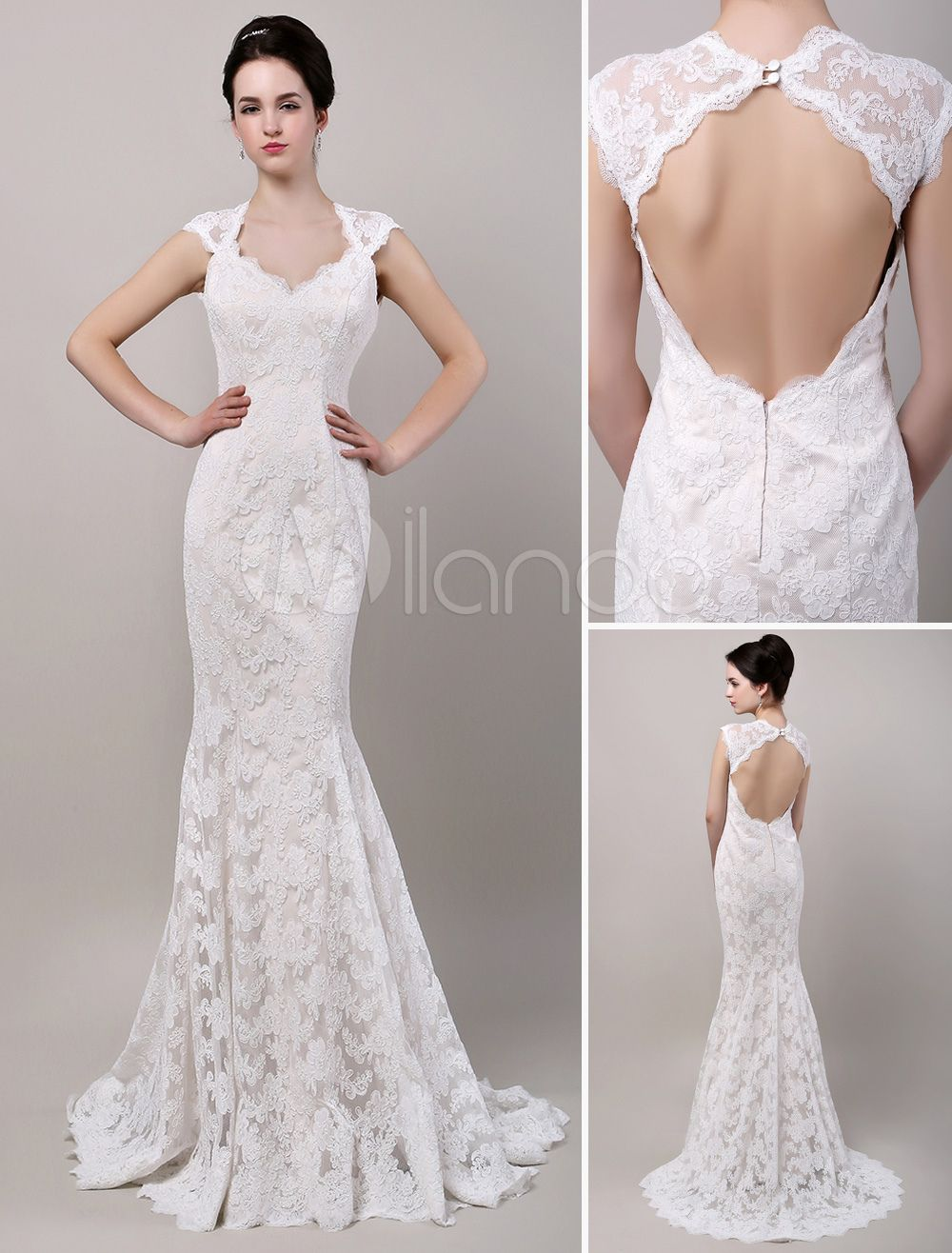 Open back lace wedding dresses  Mermaid Sweetheart Chapel Train Open Back Lace Wedding Dress