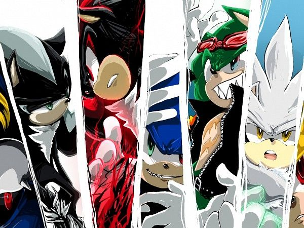L to R) Metal sonic, Mephiles, Shadow, Sonic, Scourge