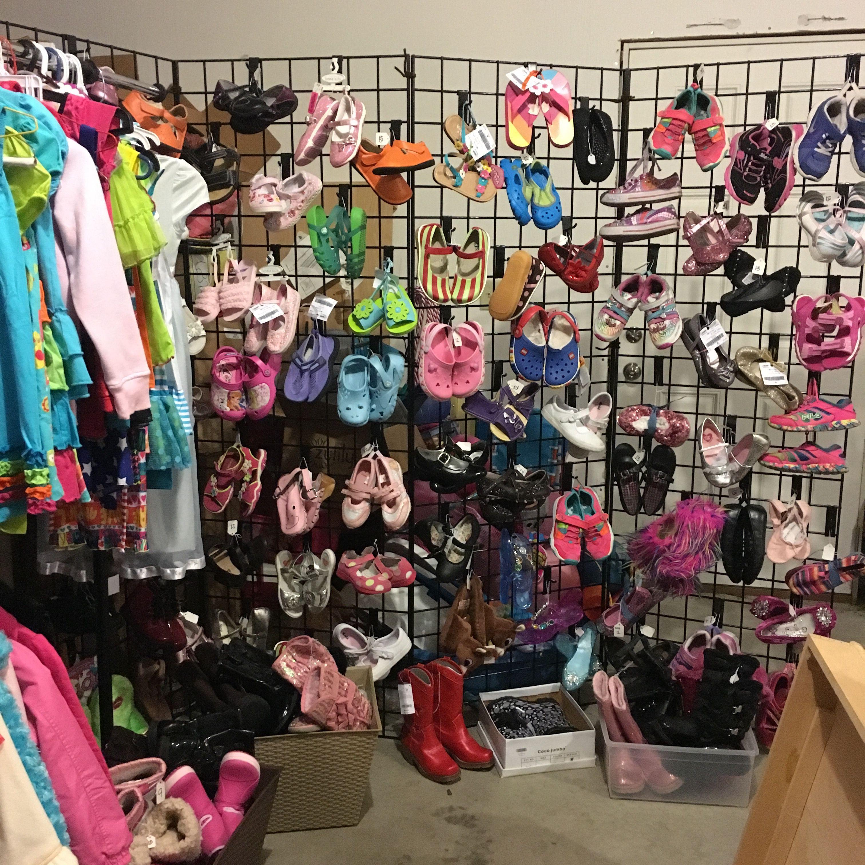 Shoe Display I Set Up At A Friend S Garage Sale Garage Sale Tips Garage Sales Shoe Display