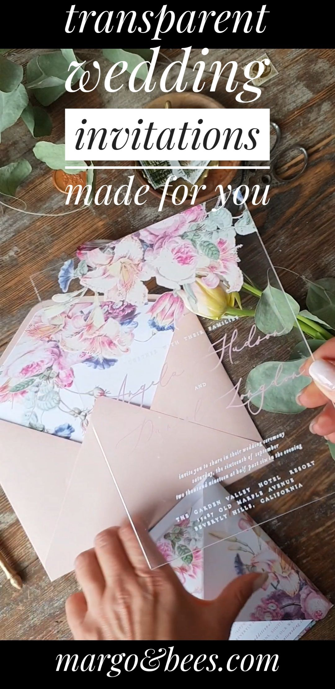 Transparent Acrylic wedding Invitation with Blush Pink envelope. Our Wedding invitation suite are completely handmade with love and care. Bespoke wedding invitations are made on your custom request. We love custom orders !
