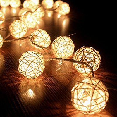 FRE 3M Storm Cream White 20 Rattan Ball Fairy Lights String Lights