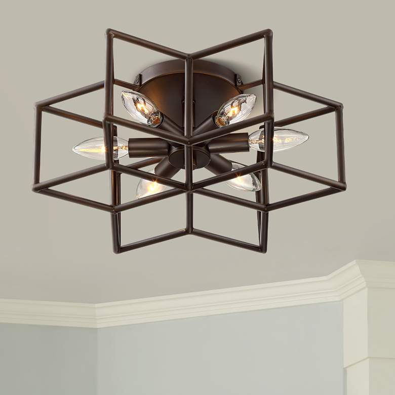 Cosmos 6 Point Star Oil Rubbed Bronze 6 Light Ceiling Light In 2020 Ceiling Light Fixtures Living Room Ceiling