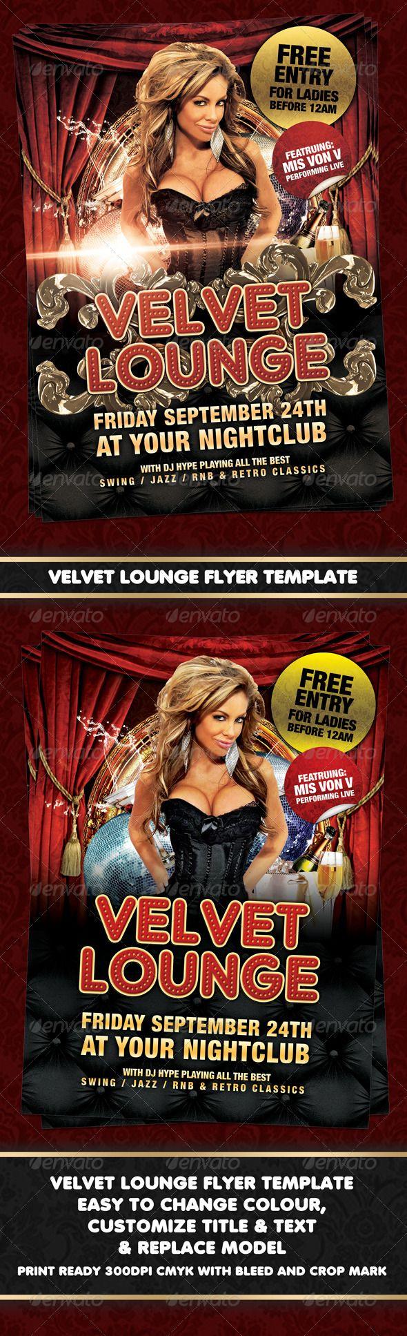 Velvet Lounge Poster Or Flyer Template  Velvet Lounge Flyer