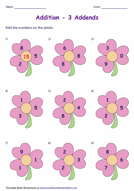 Add The Numbers On The Petals We Have Worksheets For   And