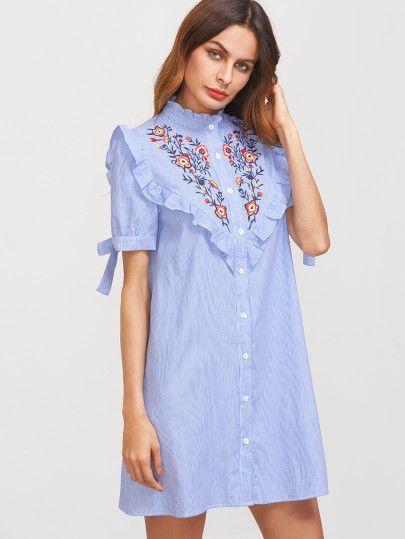 Vestido camisero rayas azules