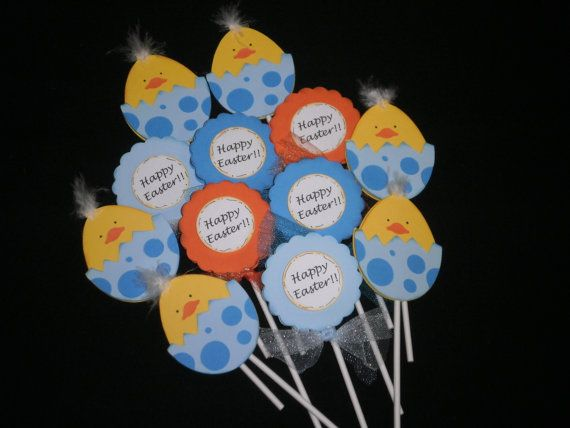 Cute Easter Chick Cupcake Toppers by whimzypartycreations on Etsy, $10.00