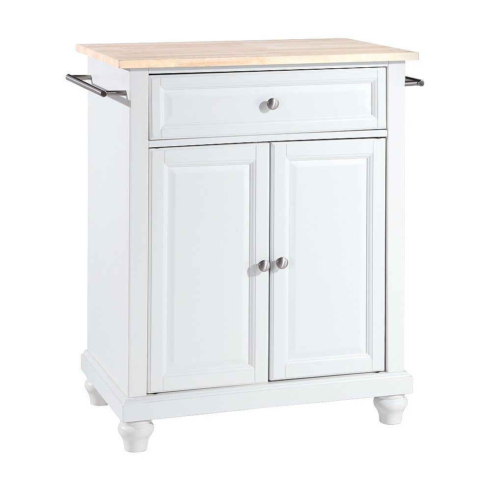cambridge natural wood top portable kitchen island - white
