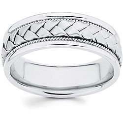 14k white gold mens hand braided comfort fit wedding band size 125 silver solid - Mens White Gold Wedding Rings