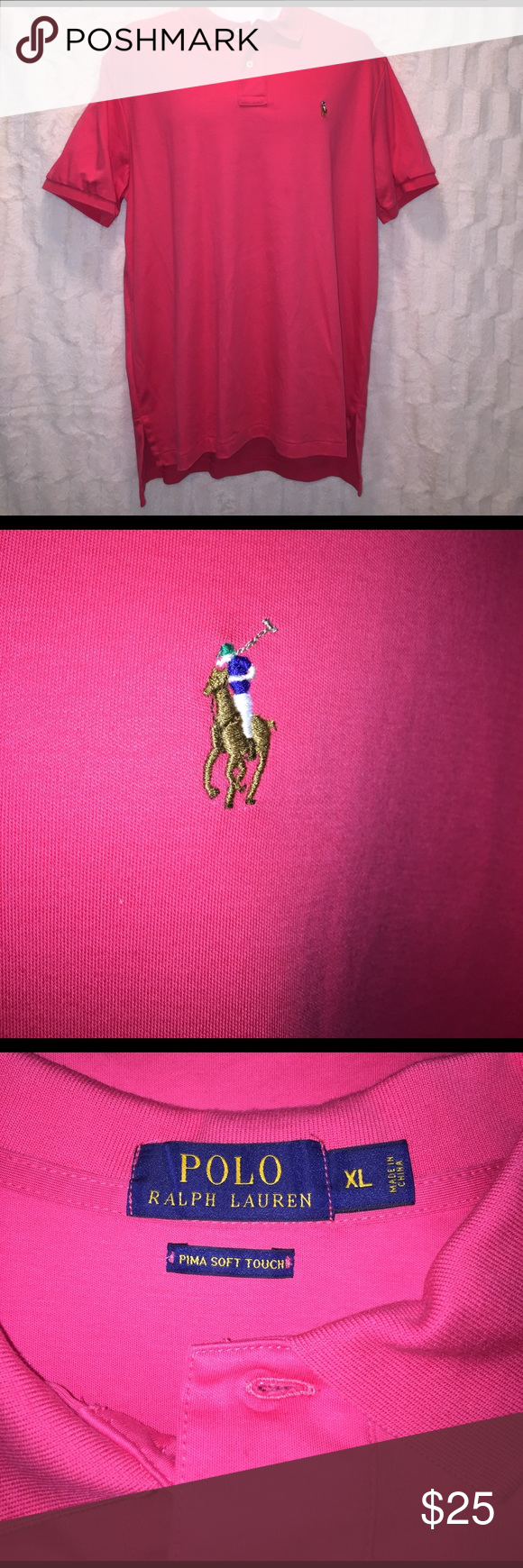 Polo Ralph Lauren Pink Pima shirt Like new. It is a hot pink color, which is great for work or a night out with friends. This shirt goes with everything and can be dressed up or down. It is a size X-Large. Ralph Lauren Shirts Polos