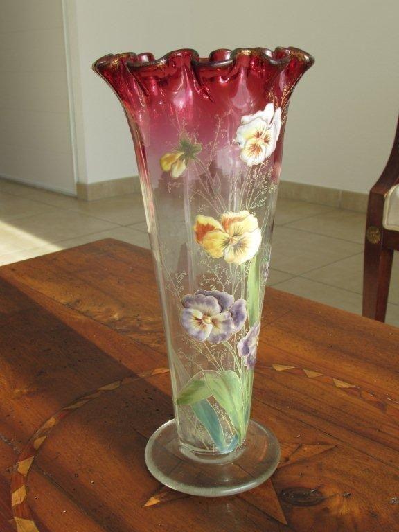 vase ancien polylob verre maill d cor de pens es legras st denis art nouveau vases. Black Bedroom Furniture Sets. Home Design Ideas