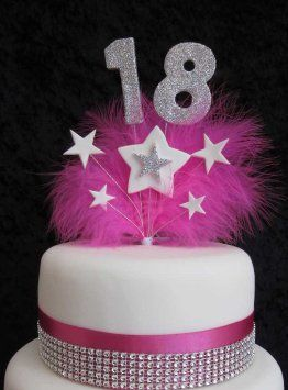 18th Birthday Cake Topper With Silver Glittered Numbers And Hot Pink