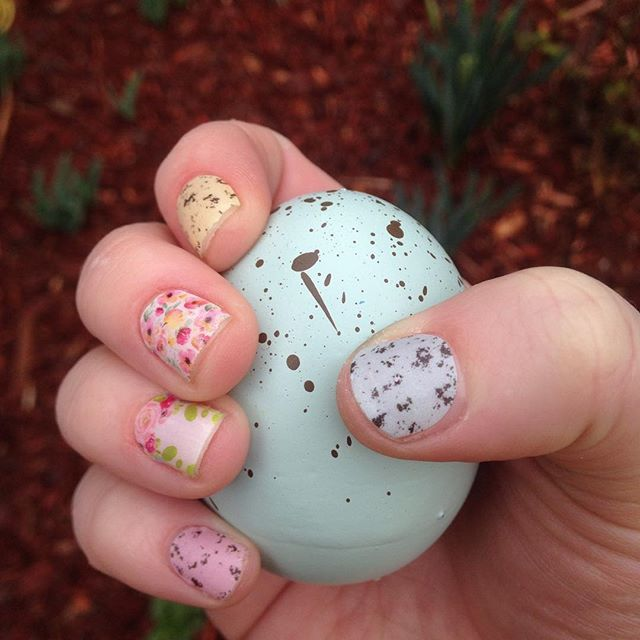 Easter ready nails! Speckled egg wraps, Coming Up Roses wraps, and Boutique wraps!