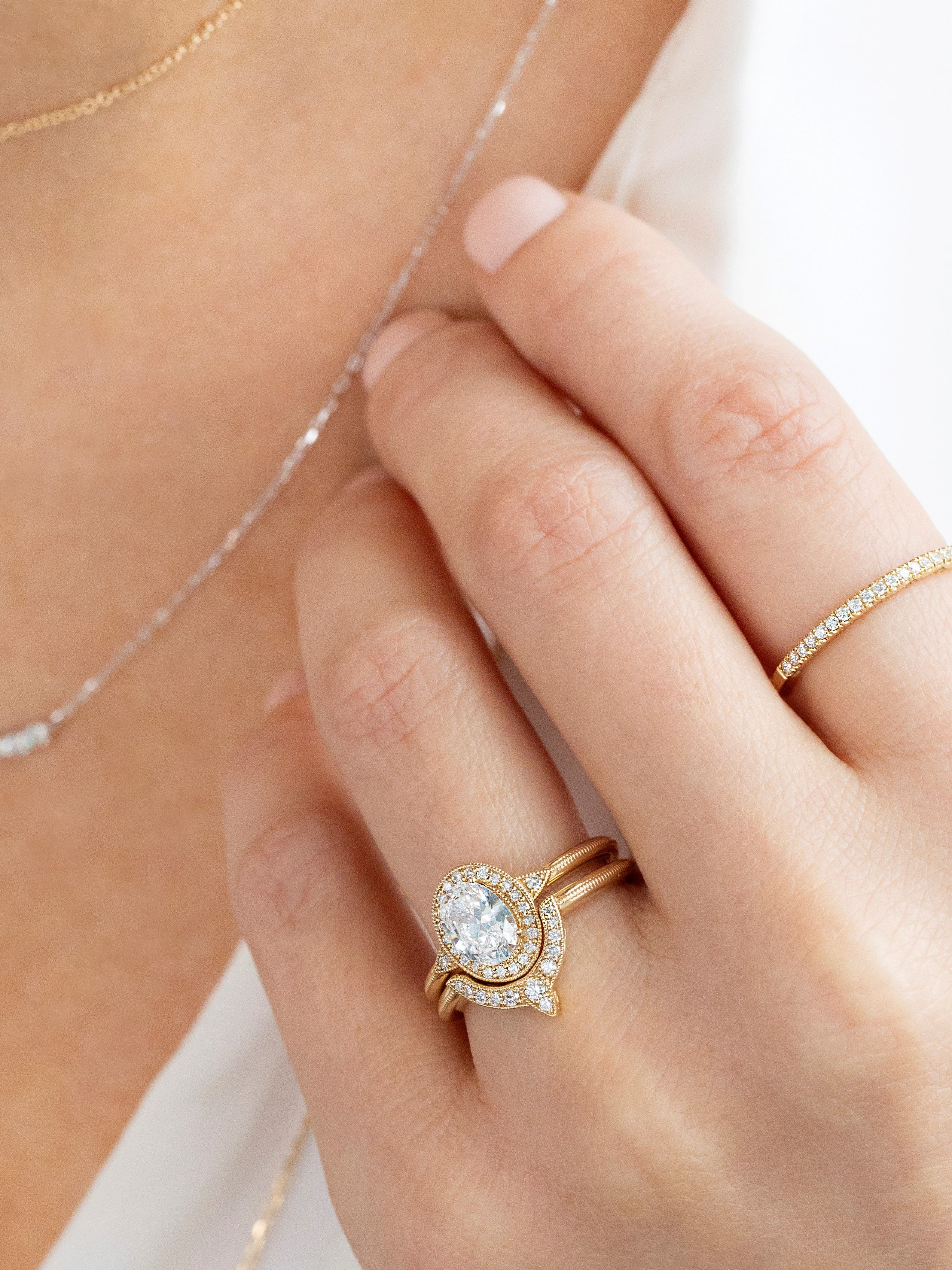 Oval Engagement Ring Diamond Bands And Mixed Metal Necklaces From