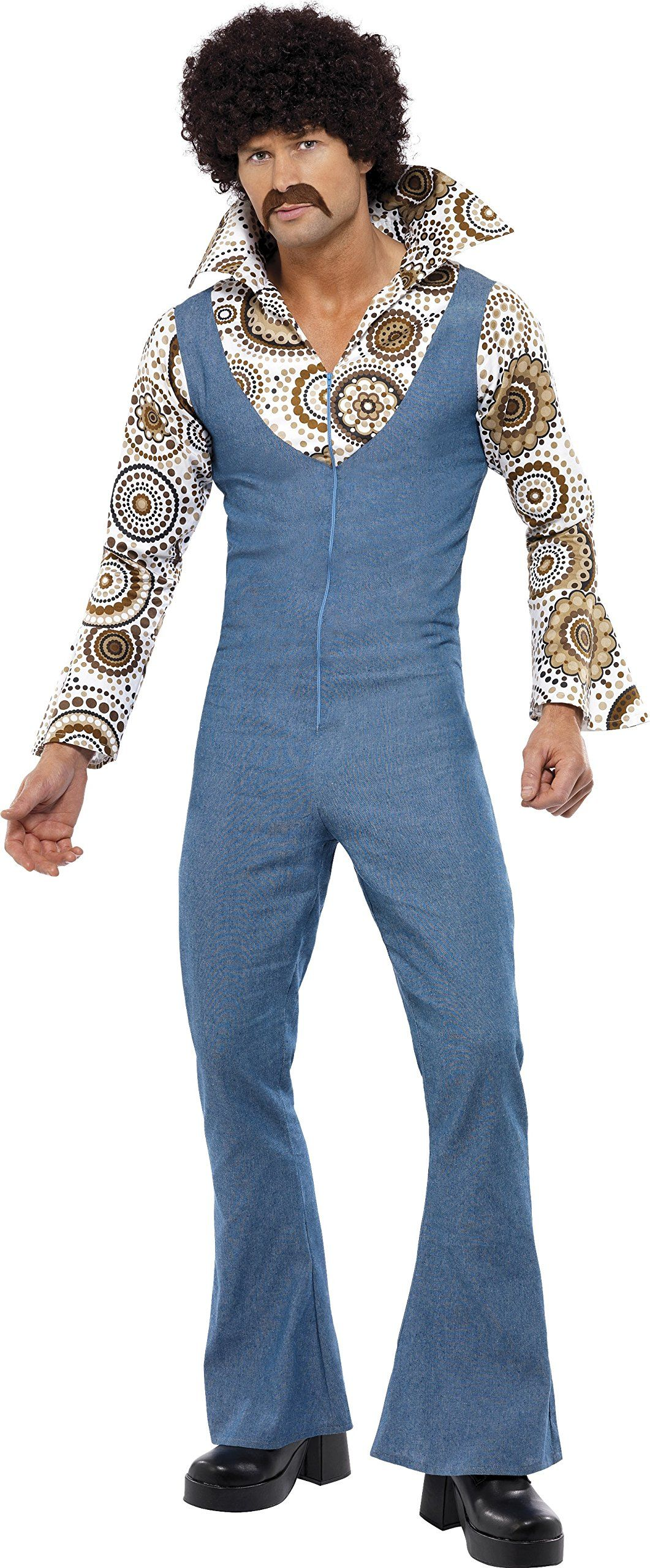 05021b4f8fd8 Smiffys Mens Groovy Dancer Costume Jumpsuit With Attached Mock Shirt 70  Disco Serious Fun Size L 33216     Review much more at the picture link.