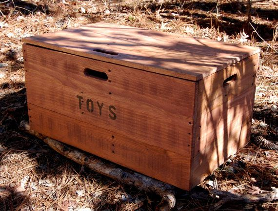 Wooden Crate Toy Chest/ Large Storage Box By LooneyBinTradingCo