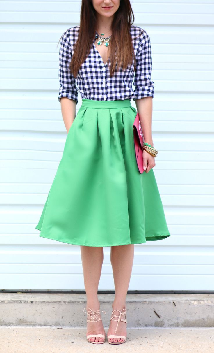 01a1a9a8864b Kelly green midi skirt with navy gingham and hot pink. Such a fun and  colorful office outfit.
