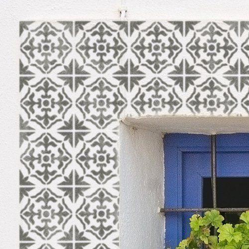 gibraltar mediterraner fliesen schablone spanisch maurischen m bel boden wand schablone. Black Bedroom Furniture Sets. Home Design Ideas