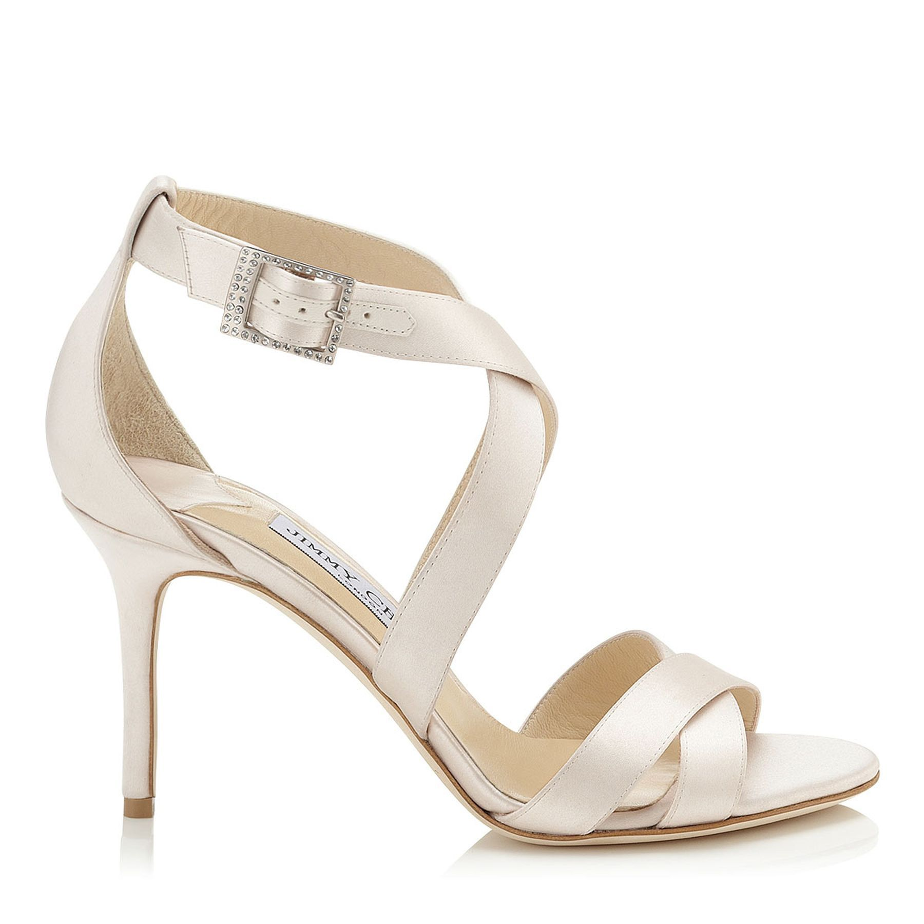 Ivory Satin Strappy Sandals | Louise | Bridal Collection | JIMMY CHOO Shoes