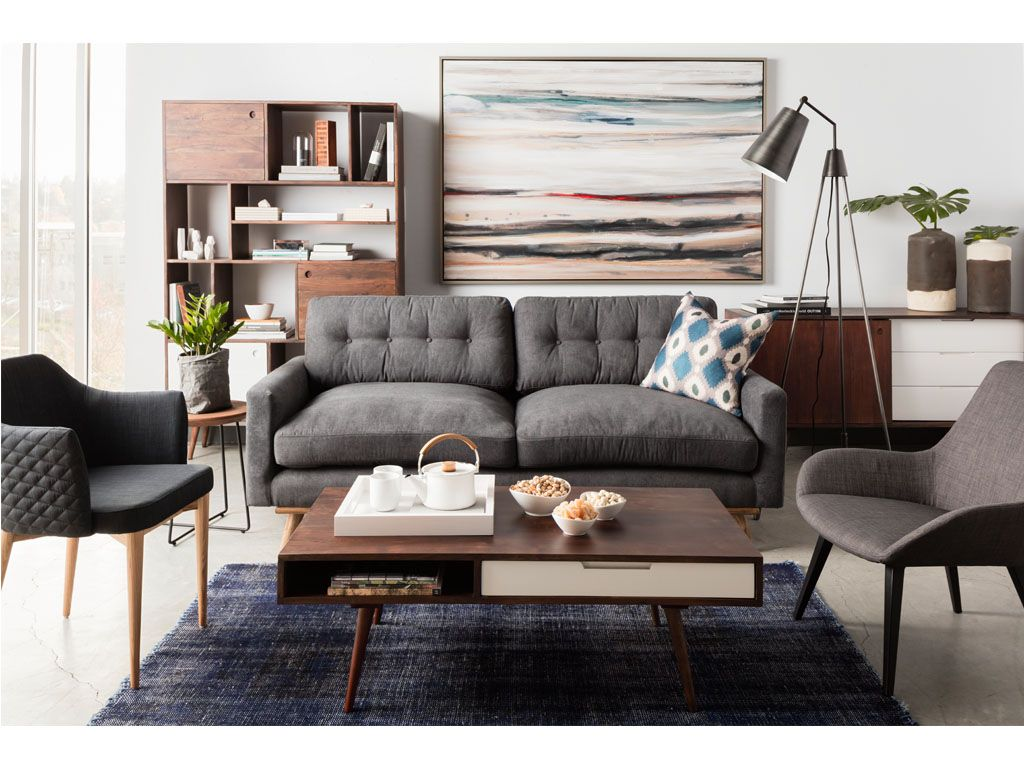 Soft grey and walnut tones inspiration! This room highlights the ever-so-comfy Webster Sofa #foreverlounge #freeshipping