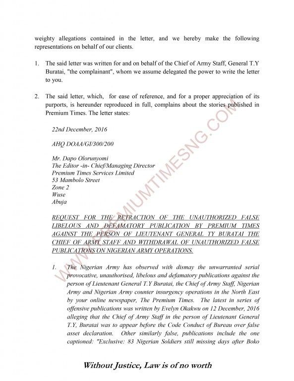 Premium Times Letter To Gen Alkali And Nigerian Army  AbramI