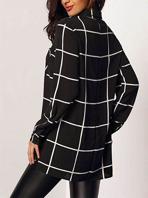 b68935a060 Boyfriend Style Long Sleeve Button Front Side Split Slit Plaid Tartan  Gingham Check Checkered Blouse Shirt Top Black White at Amazon Women's  Clothing store:
