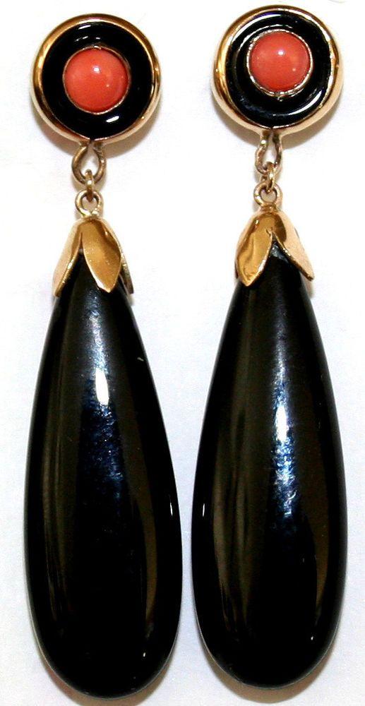 VINTAGE 9k Y GOLD BLACK ONYX PINK CORAL DANGLE 45mm LONG FINE STUD EARRINGS