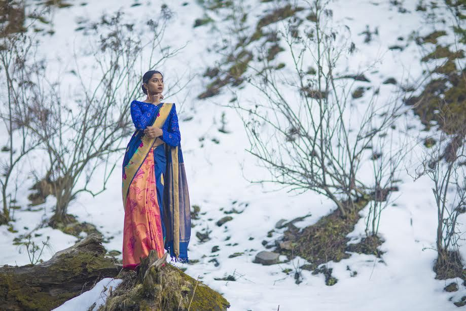 A Dreamy Photoshoot With Kanchipuram Silk Sarees In The Himalayan Snow South Indian Silk Saree Silk Sarees South Indian Wedding Saree I am curious is the lady also shackled in leg irons as well in some of the photos? silk sarees south indian wedding saree