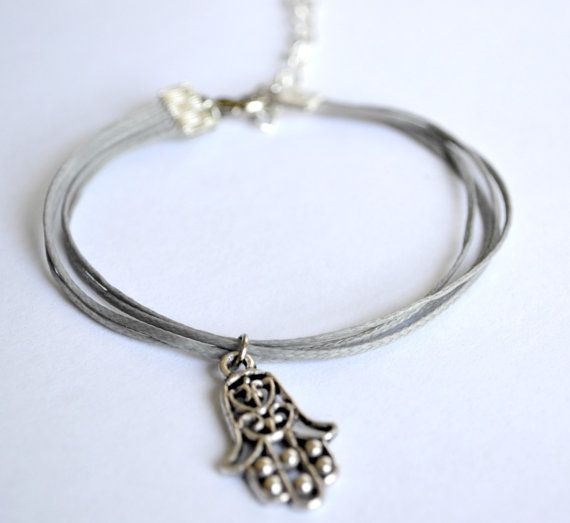 Hamsa Bracelet   cord bracelet with a hamsa charm by ShaniAndAdi, $12.00
