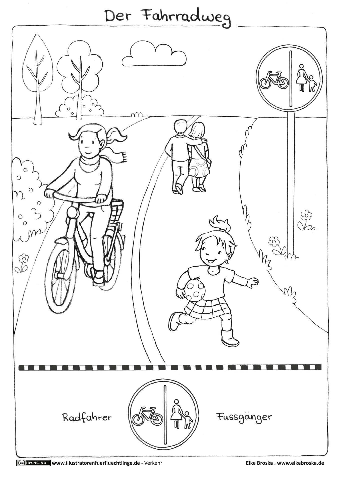 Playmobil Ausmalbilder Schule : Verkehr Fahrrad Fahrradweg Broska Road Safety Pinterest