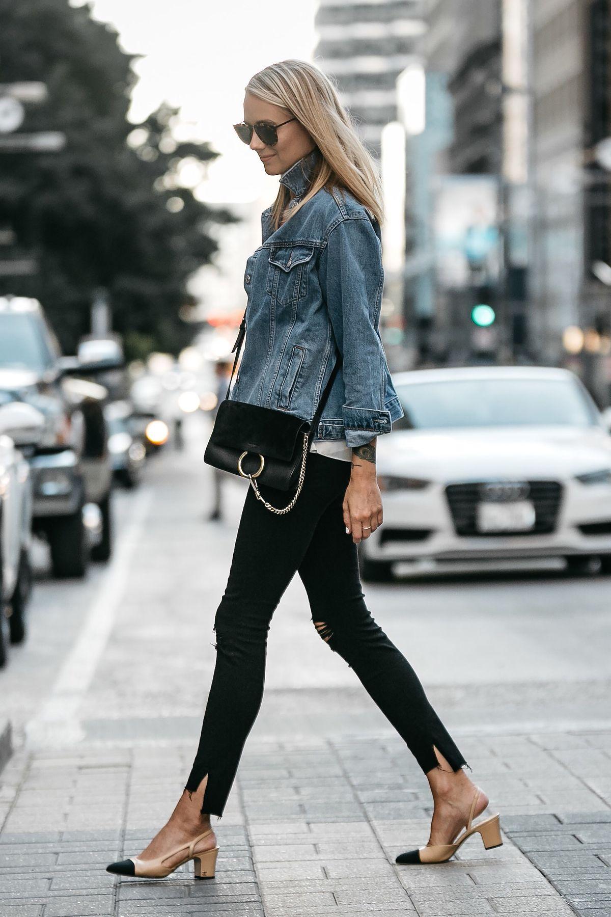 7381466cff Blonde Woman Wearing Topshop Oversized Denim Jacket Frame Black Ripped  Skinny Jeans Chloe Faye Handbag Chanel Slingbacks Fashion Jackson Dallas  Blogger ...