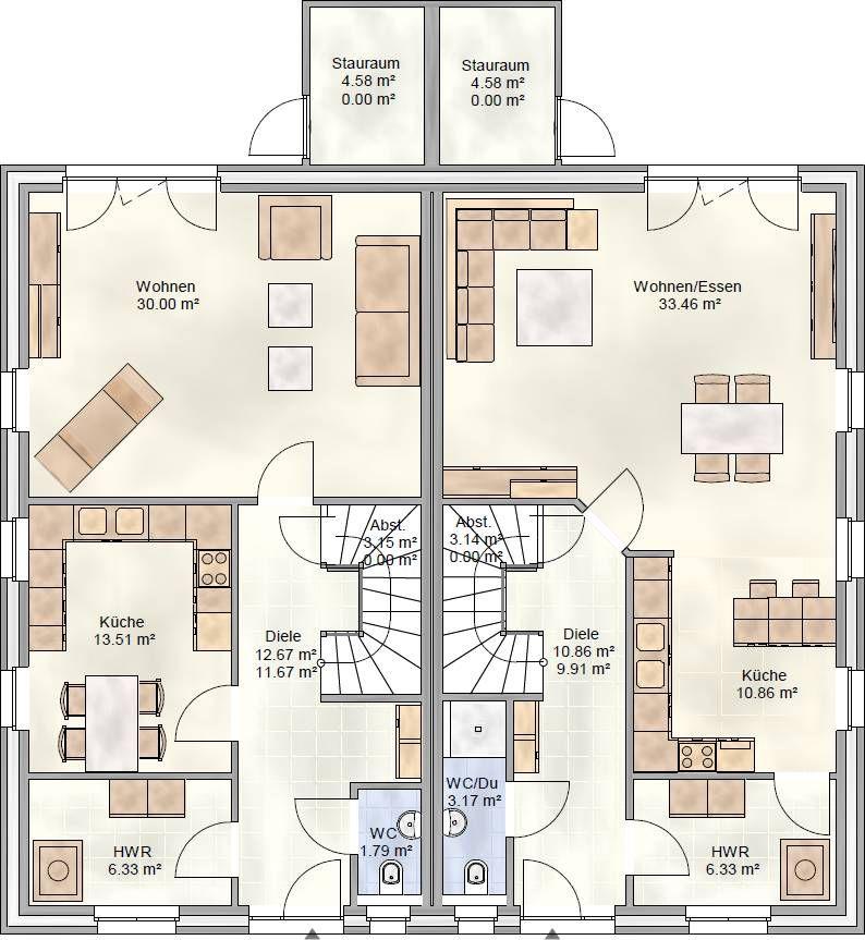 DUO 125 Doppelhaus Grundriss Erdgeschoss Doppelhaus