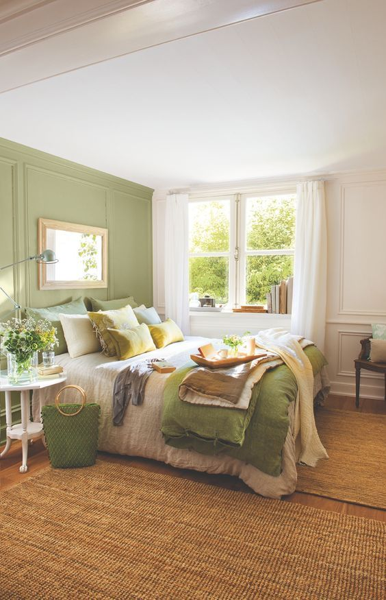 Superieur Green And White Summer Bedroom Design