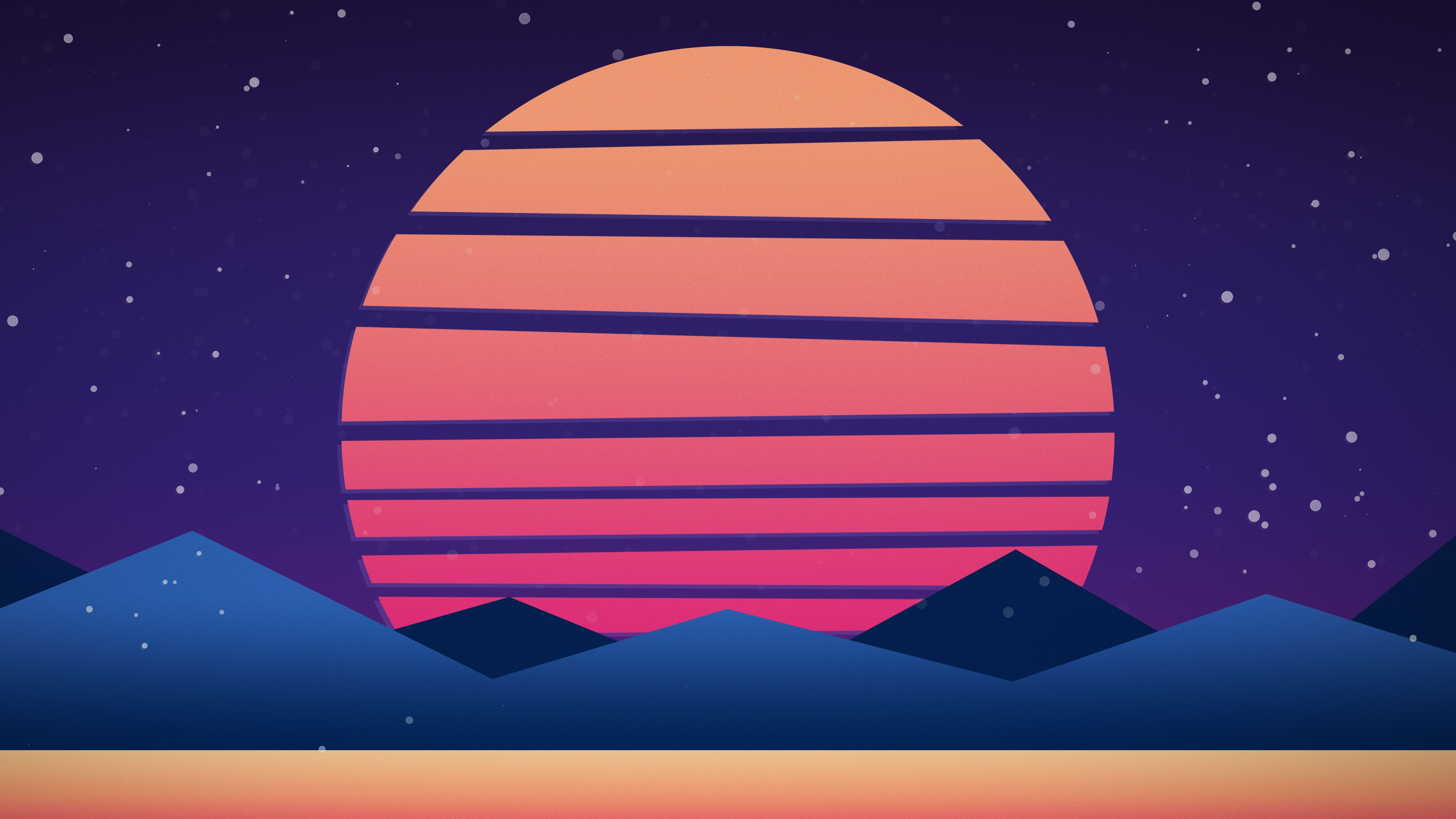 5k 5120x2880 Synthwave Inspired Sunset Abstract