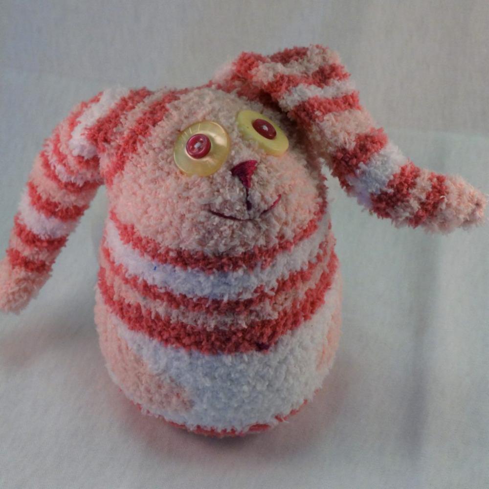 Abby Bunny is a handmade Sock Bunny Plush perfect for children's play #bunnyplush