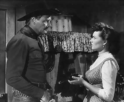Joel McCrea and Barbara Hale in The Lone Hand, 1953