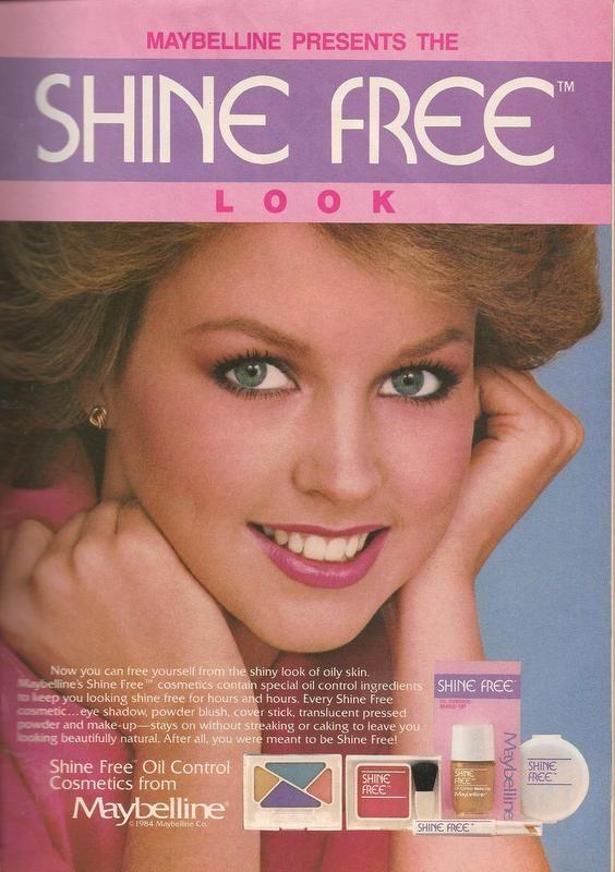 1985 maybelline shine free makeup ad with deborah foreman