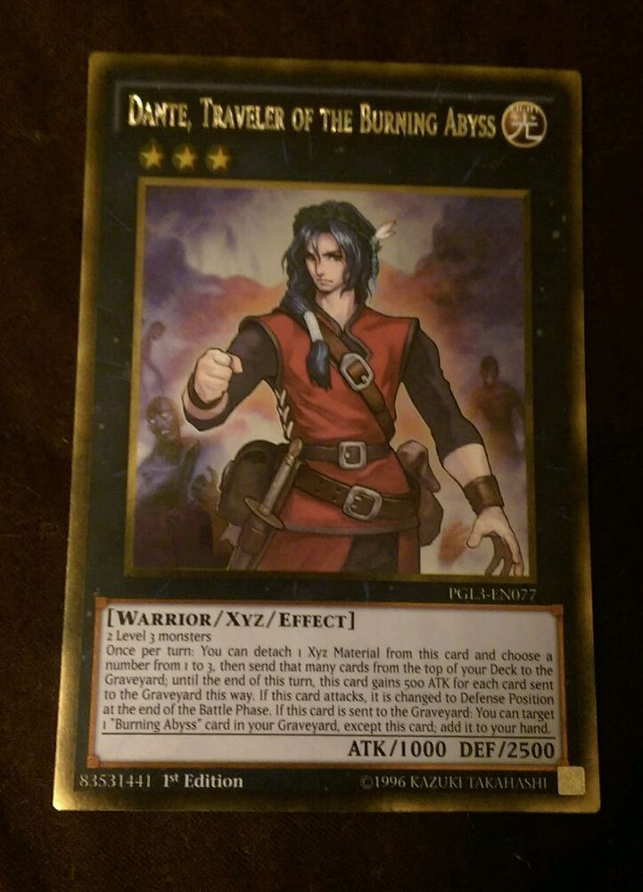NM Gold Rare 1st Edition PGL3-EN077 Dante Traveler of the Burning Abyss