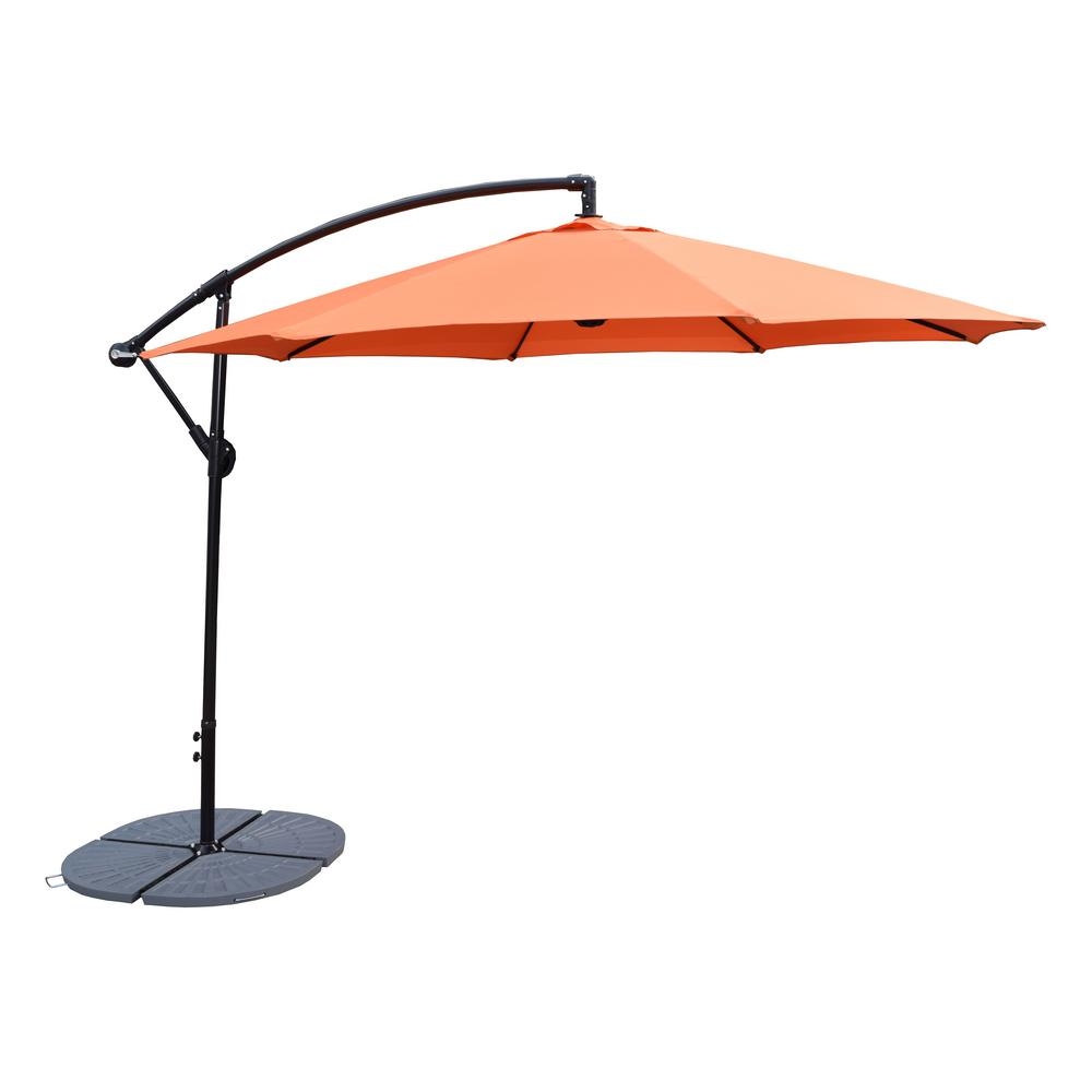 10 Ft Cantilever Patio Umbrella In Burnt Orange And 4 Piece Cast Polyresin Patio Umbrella Base Hd4110bo 4226gy Cantilever Patio Umbrella Patio Cantilever Umbrella