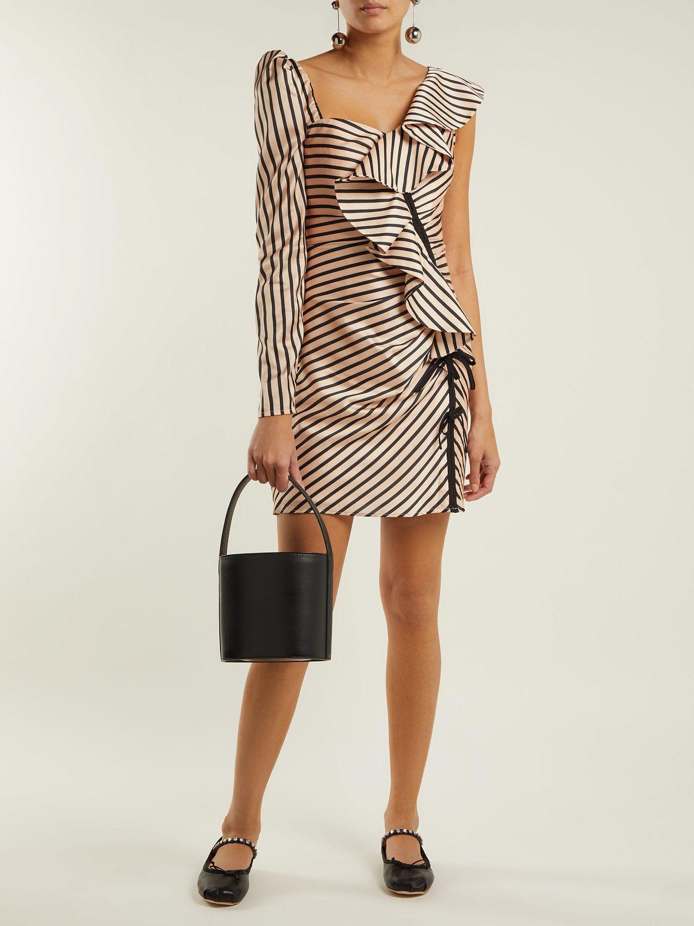 a36a0ae756 Asymmetric striped satin mini dress