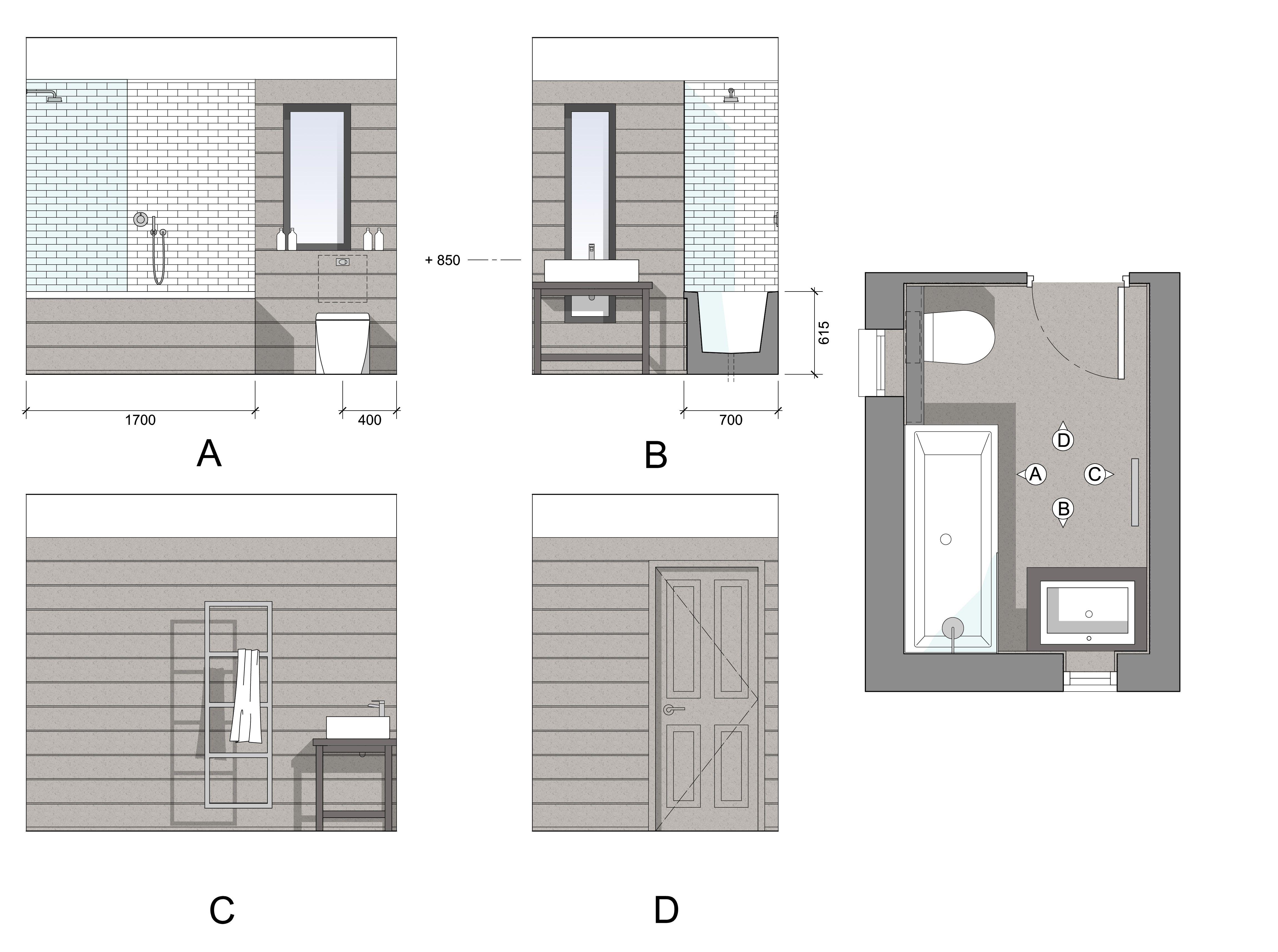 Bathroom elevations sample drawing