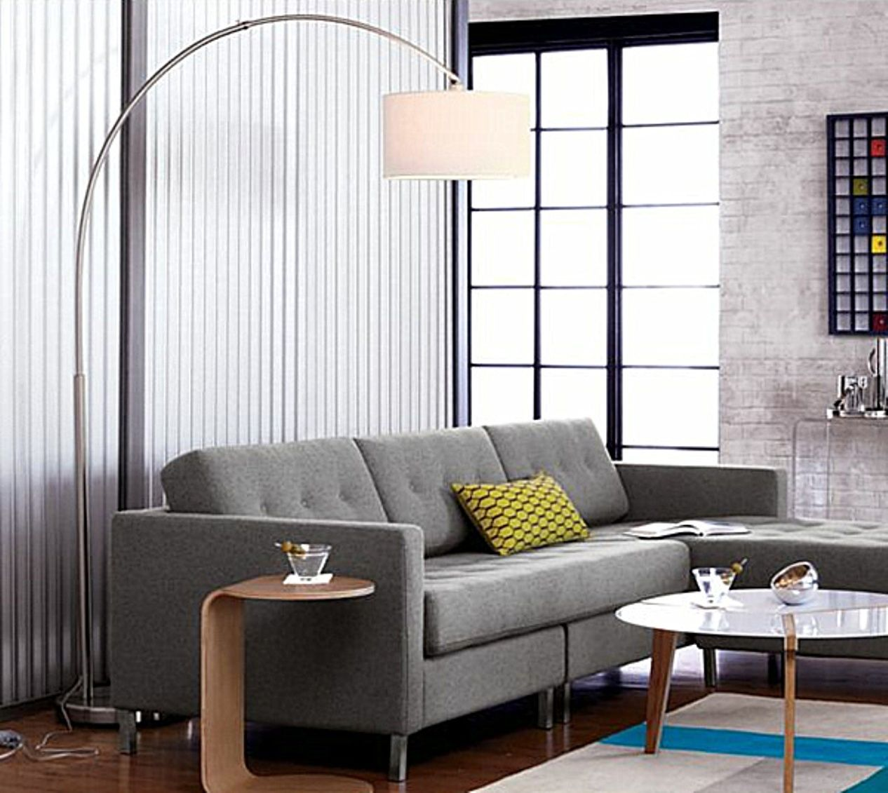 Minimalist Side Table And Modern Arc Floor Lamp Living Room Idea Also Gray  Sofa With Tufted