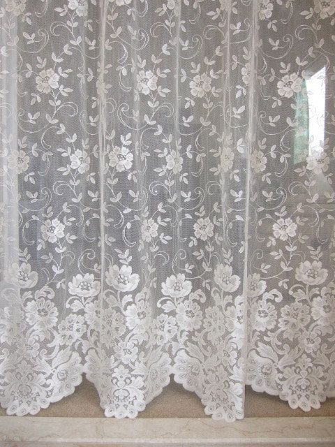 Lace Curtain Ivory Lace Curtain Panel With By Thecottageway