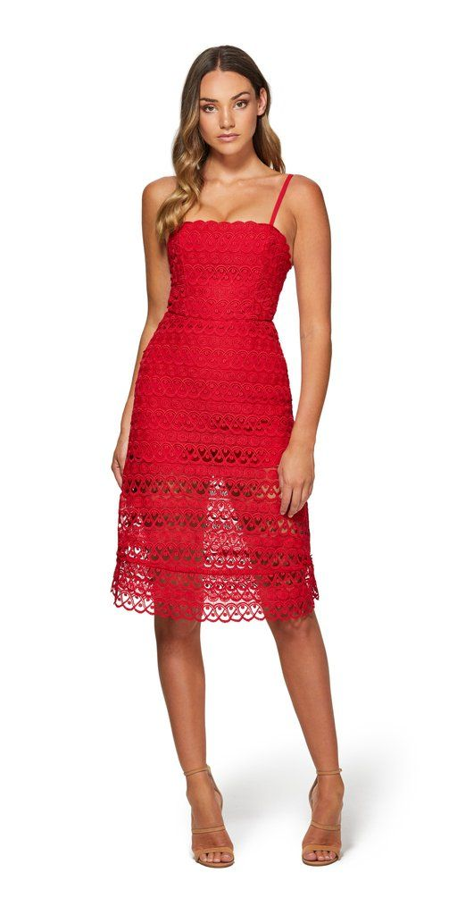71e7e4ba1d This beautiful Lily Lace Dress from Kookai is now available in red ...