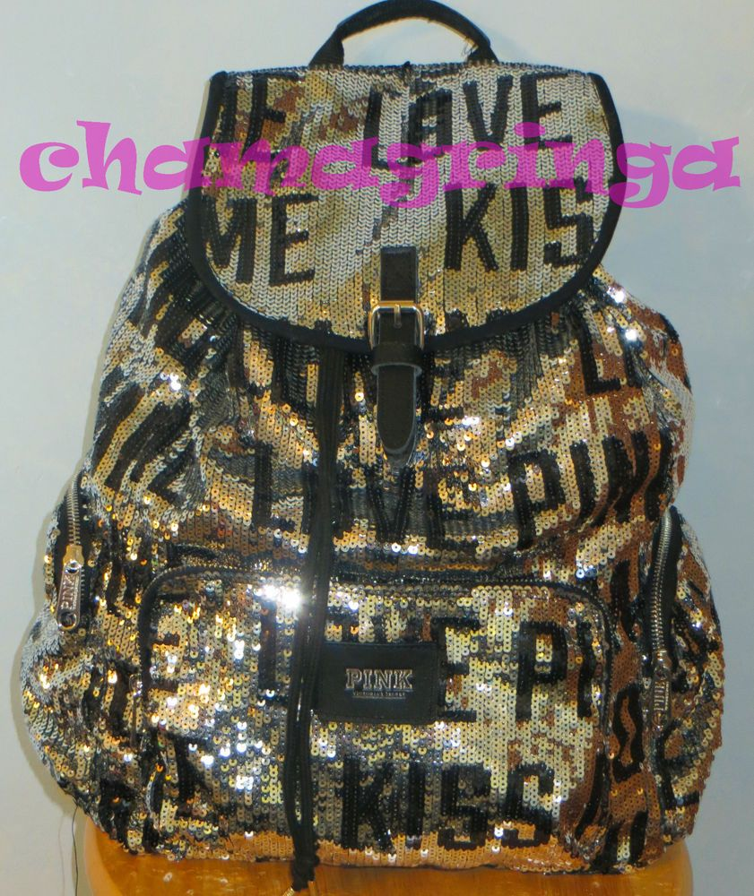 Victoria's Secret LOVE PINK super bling backpack KISS ME silver sequins NWT rare