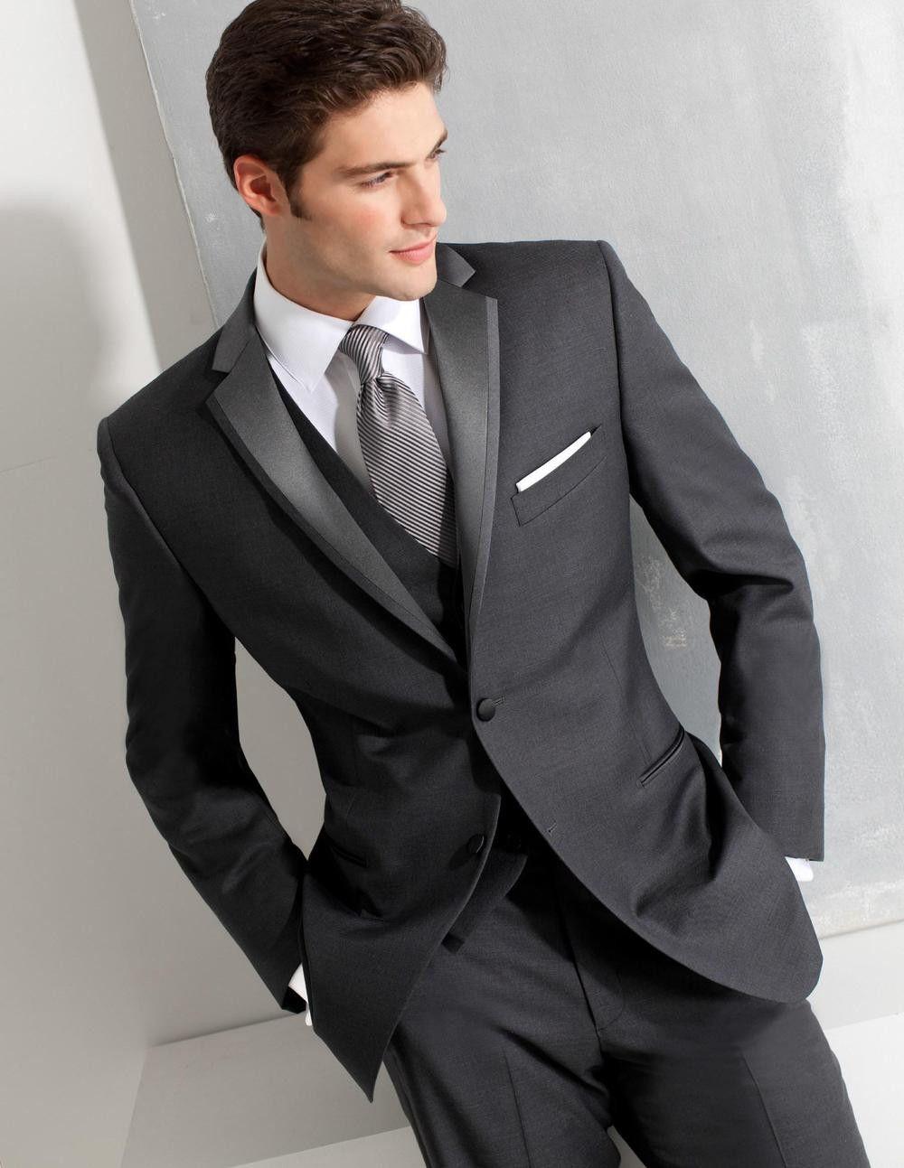 Custom made groom tuxedos grey formal wear wedding suits groomsman