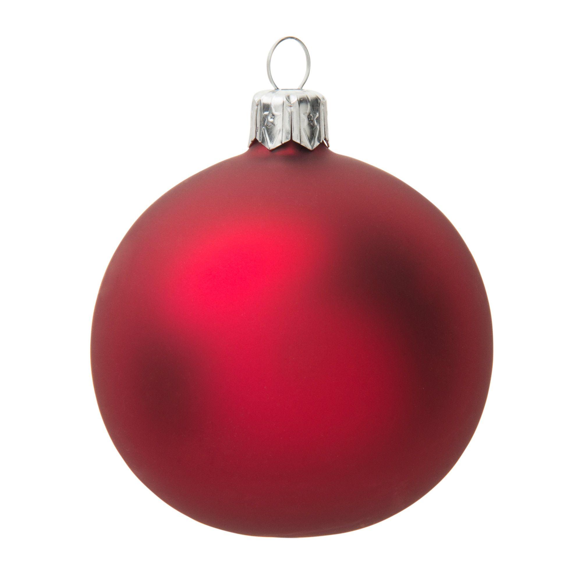Boule de Noël en verre rouge mat D 7 cm CARMIN | Maisons du Monde
