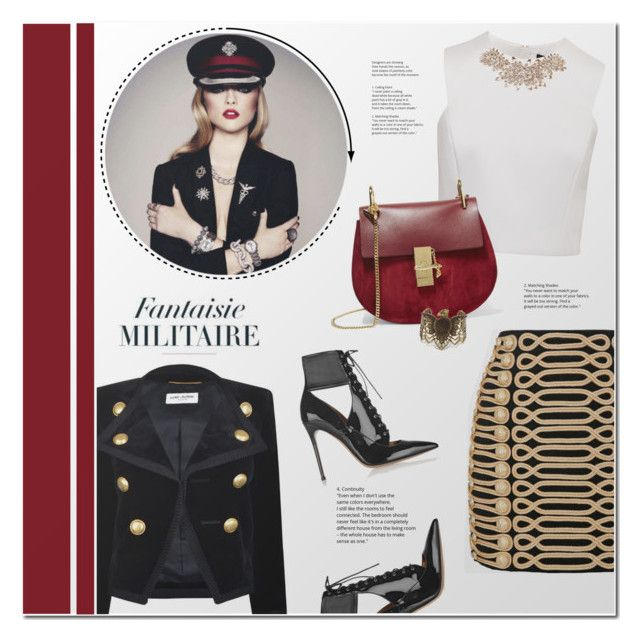 """""""Fantaisie Militaire"""" by redflowergirl ❤ liked on Polyvore featuring Yves Saint Laurent, Balmain, Gianvito Rossi, Ted Baker, Chloé, Steve Madden and velvet"""