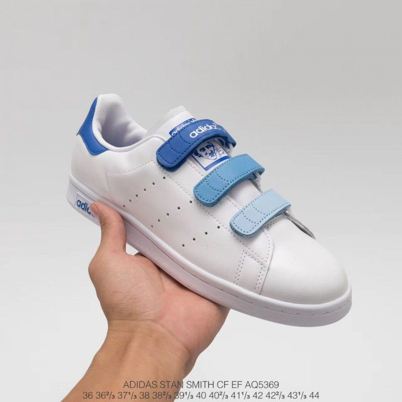 Adidas Skateboarding Shoes Blue,AQ5369 Upper Adidas Smith Velcro Gradient Blue Adidas Stan Smith CF EF Upper Velcro