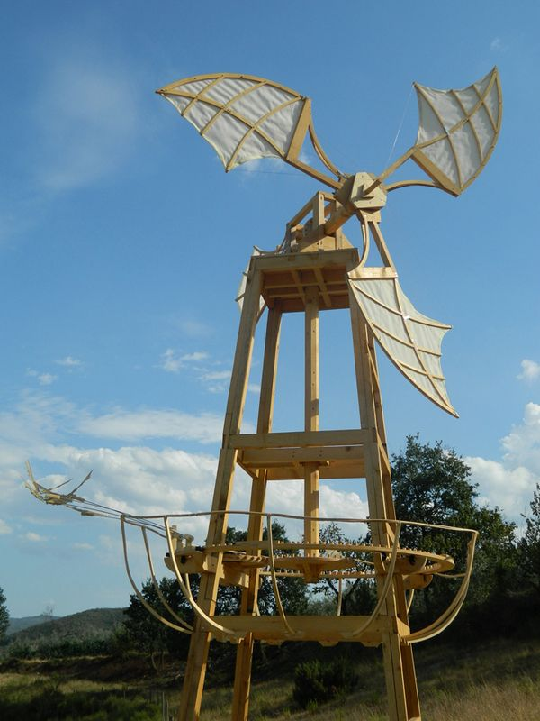"""Using the Leonardo's flight studies and mechanical investigations as the initial principles for the windmill's design, Mulino Di Vento then uses the kinetic energy of the wind to power a small flock of birds as they clumsily """"fly"""" around the windmill's base. The sculpture is both monumental and diminutive, elegant and awkward, and ultimately, hopefully, a beautiful kinetic monument to the power of nature and our inability to replicate it."""